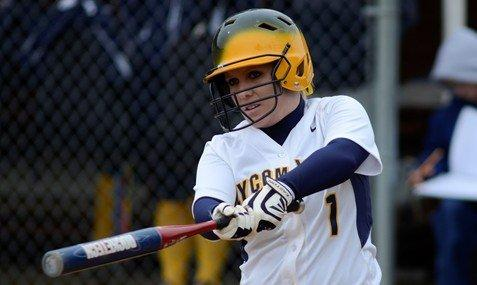 Senior Holly Lansberry with her second 10+ hitting streak for Lycoming. (photo courtesy Lycoming Athletic Dept.)