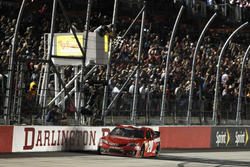 All night long it was Kyle Busch dominating the Southern 500, but a cut tire late in the going forced him to hang on, giving the win to teammate Matt Kenseth.