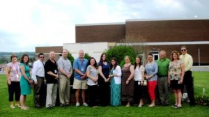 Teachers at the Clearfield High School who  teach Dual Enrollment classes include, from left: Mrs. Spaid - School counselor and Dual Enrollment coordinator, Mrs. Zimdahl - Spanish, Mr. Billotte -Psychology and Sociology, Mr. Keser - Calculus, Mr. Robb - Physics, Mr. Hazelton - Exercise Physiology, Mrs. Borden - English Composition and Public Speaking, Mrs. Warlow - English Composition, Public Speaking, and English IV, Ms. Crisafulli - Spanish, Mrs. Simpson - German, Ms. Schaeffer - Art, Mrs. Fye - Chemistry, Mr. Domico - Chemistry, Mrs. Bookhamer - Statistics, and Mr. Janocko – CHs principal. Teachers missing from the photo are: Mrs. Hoover - Computer, Mr. Marshall - History and Mr. Mandell - Music. (Provided photo)