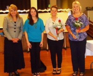 Pictured, from left to right, are Mary Syktich, CAP-OM and Rachel Syktich, who are sponsors of the two, new members, Shannon Rearick and Brenda Heschke. (Provided photo)