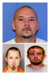 Pictured, at the top, is defendant Jeffrey Sprague and then at the bottom are defendants Eric Britton (left) and Austin Eheart (right). (Provided photos)