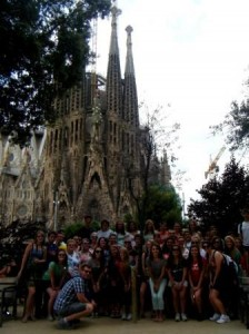 The travelers are pictured here in front of La Sagrada Familia in Barcelona. (Provided photo)