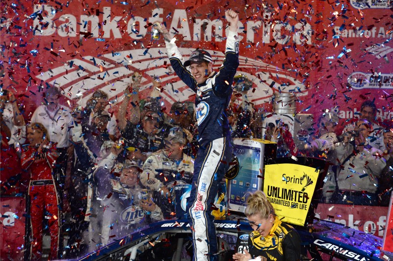 The champ...is back.  Brad Keselowski may not be in the chase, but he was in victory lane Saturday night.