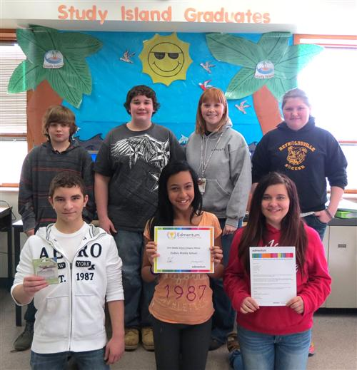 Shown, along with DuBois Area Middle School AmeriCorps member Robin McCoy, are some of the students who submitted a video of their computer lab to win a contest sponsored by Edmentum. In the front row, from left, are Jake Buerk, Nickysia Howard and Madyson Scarpelli. In the back row, from left, are, Darrin Solomon, Nick Welch, McCoy and Rachel McAninch. (Provided photo)