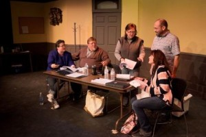 "Beatrice Pomeroy (Sharon Folmar) tries to convince playwright Jerry (Brian Hand) to add jokes to his play, in the Reitz Theater production of ""Don't Talk to the Actors."" From left to right, pictured are Jenny Gordon, Drew Gordon, Folmar, Hand and Valerie Kucenski. (Provided photo)"