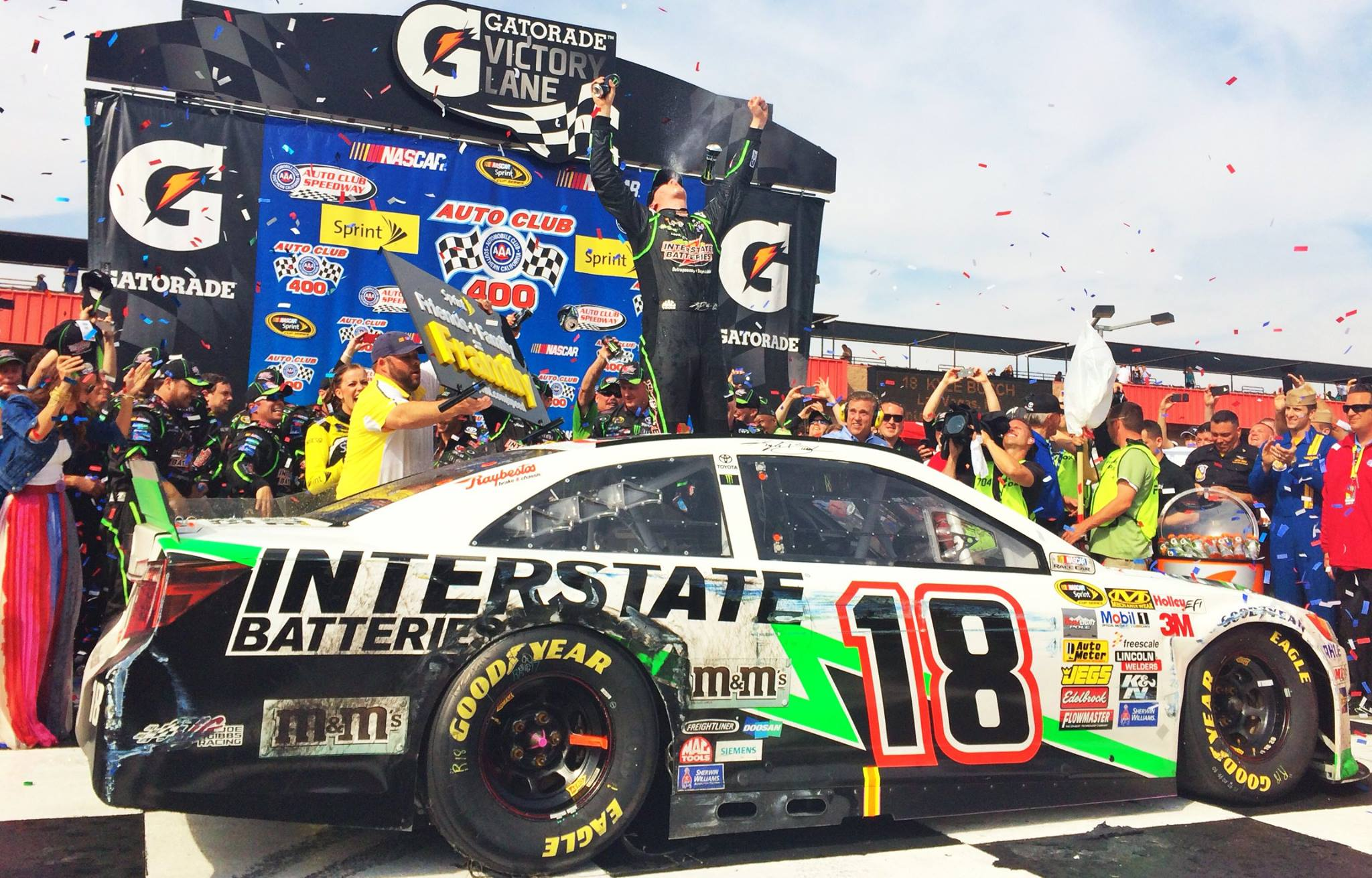 The wild afternoon at California ended with Kyle Busch in victory lane.