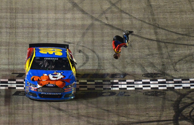 Another marathon of a night in racing saw Carl Edwards flipping out in the end.