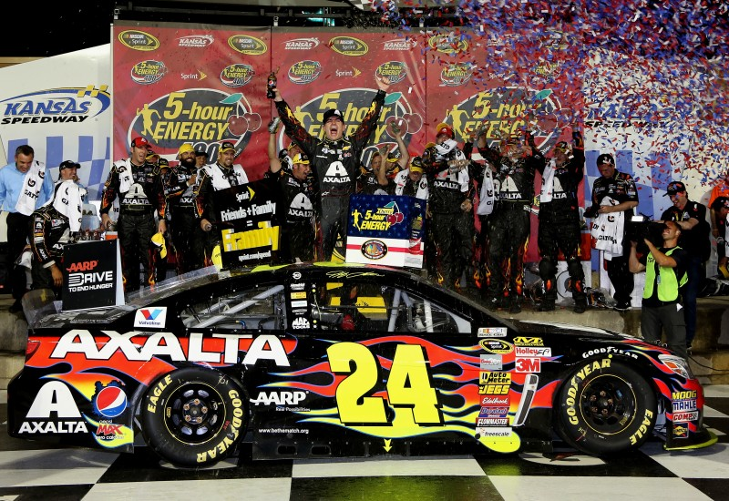 The weight on this team's shoulders is finally gone.  Jeff Gordon can say he's  race winner, and he's in the Chase.