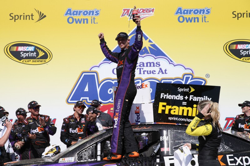 In typical Talladega fashion, there were big wrecks and intense racing.  Denny Hamlin survived to get the victory.