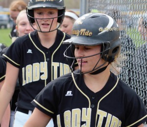 BIG GAME AT THE PLATE - Curwensville junior Alaina Stiles went 3-for-4 with two home runs and a double on Wednesday.  The Lady Tide dropped the game, however, 10-5 to Elk County Catholic.  (photo by Rusty McCracken)