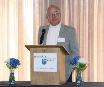 Don Brown of Pennsylvania Wildlife Habitat Unlimited spoke at the annual campus Scholarship Lunch in April, offering the donor's perspective on scholarship support. (Provided photo)