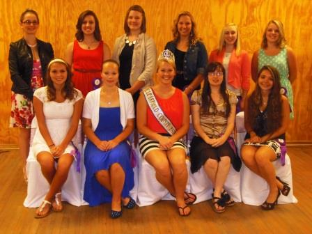 Seated, from left, are Tara Sample, Lydia Opalisky, Fair Queen Taylor Rae Goodman; Destiny Martell and Diane Thompson. In back, from left, are: Roza Nalley, Kaylee Mulhollem, Abby Jamison, Lyndsey Good, Melanie Boop and Emily Andrulonis. Missing from photo are Chelsea Folmar and Melody Brady. (Photo by Jessica Shirey)