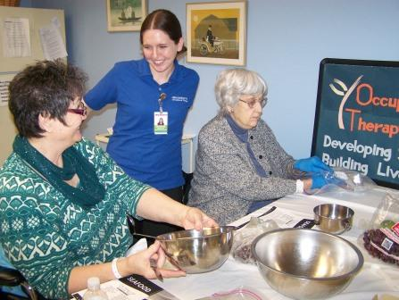 Patients enjoy preparing a heart-healthy meal in the therapy gym kitchen at HealthSouth Nittany Valley.  (Provided photo)