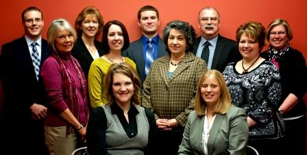 Shown, seated from left, are Katie Penoyer and Heather Bozovich. In the second row are Karen Miller, Kim Durant, Lisa Kovalick and Leslie Stott. In the back row are Joe Kelly, Darla Smay, Chris Renaud, the Rev. J. Robert Mellgard and Kathy Jacobson. (Provided photo)