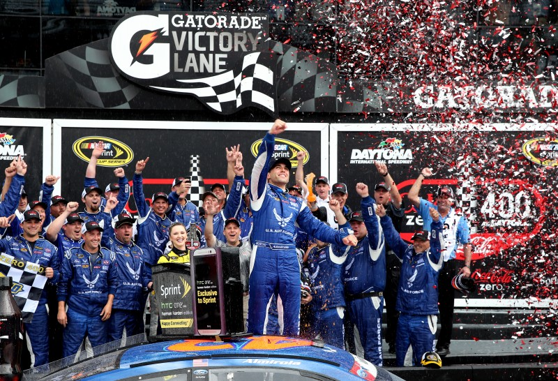 It was a rainy weekend in Daytona.  It ended with Aric Almirola in victory lane, the first for the No. 43 since 1999.