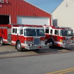 Osceola Mills fire engines are on display at the carnival's entrance. (Photo by Dustin Parks)