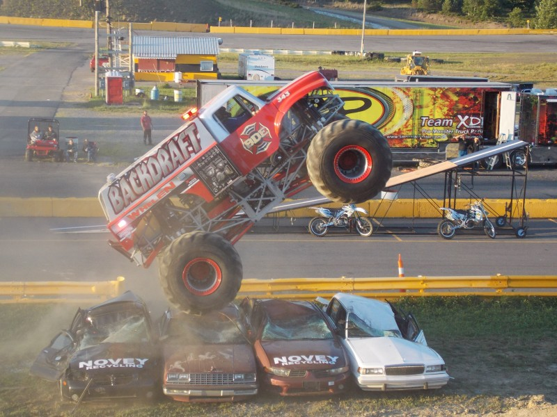 Ty Cornelius in his Backdraft International monster truck does a freestyle for the Clearfield fans.