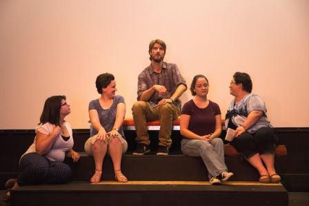 Conman Tissotin (Ryan Haggerty, center) poses as a poet and mesmerizes Armande (Jessalyn Penvose, far left), Belise (Jennifer Gonzalves, second left) and Philamente (Jenny Gordon, far right), while Henriette (Cody Buck, second right) seems unamused in Moliere's The Learned Ladies at the Reitz Theater.  (Provided photo)
