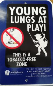 Some new signage will soon be appearing in Clearfield Borough Parks. The Young Lungs At Play program is a state-wide initiative designed to prevent exposure of children to second-hand smoke and waste from smokeless tobacco. Photo by Kimberly Finnigan)