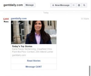 (Pictured above is a sample bot message that users will receive as a private facebook message).