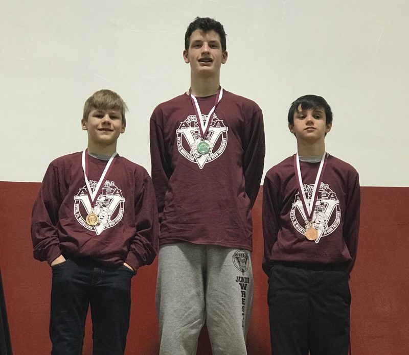 Three Bison Wrestlers Compete at PJW Junior High States