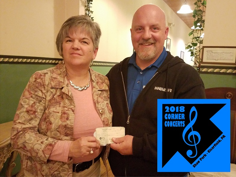 Clearfield Revitalization Corp. Receives Donation from Corner Concert Series